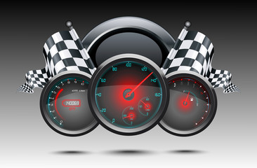 Fototapeta Formuła 1 Speedometer and checkered flags