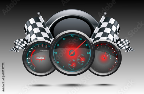 Speedometer and checkered flags - 116753781