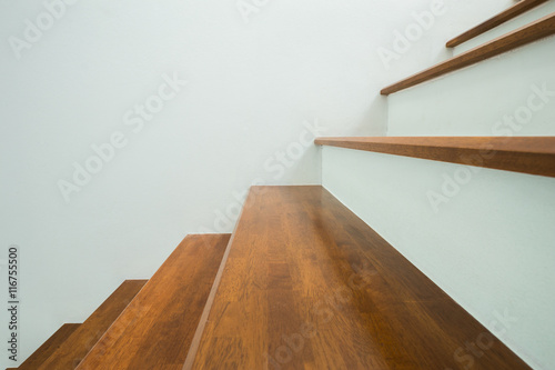 Tuinposter Trappen wooden stairs in home