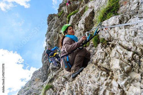 Poster de jardin Alpinisme Hiker climbing in the mountain of Alps, Europe