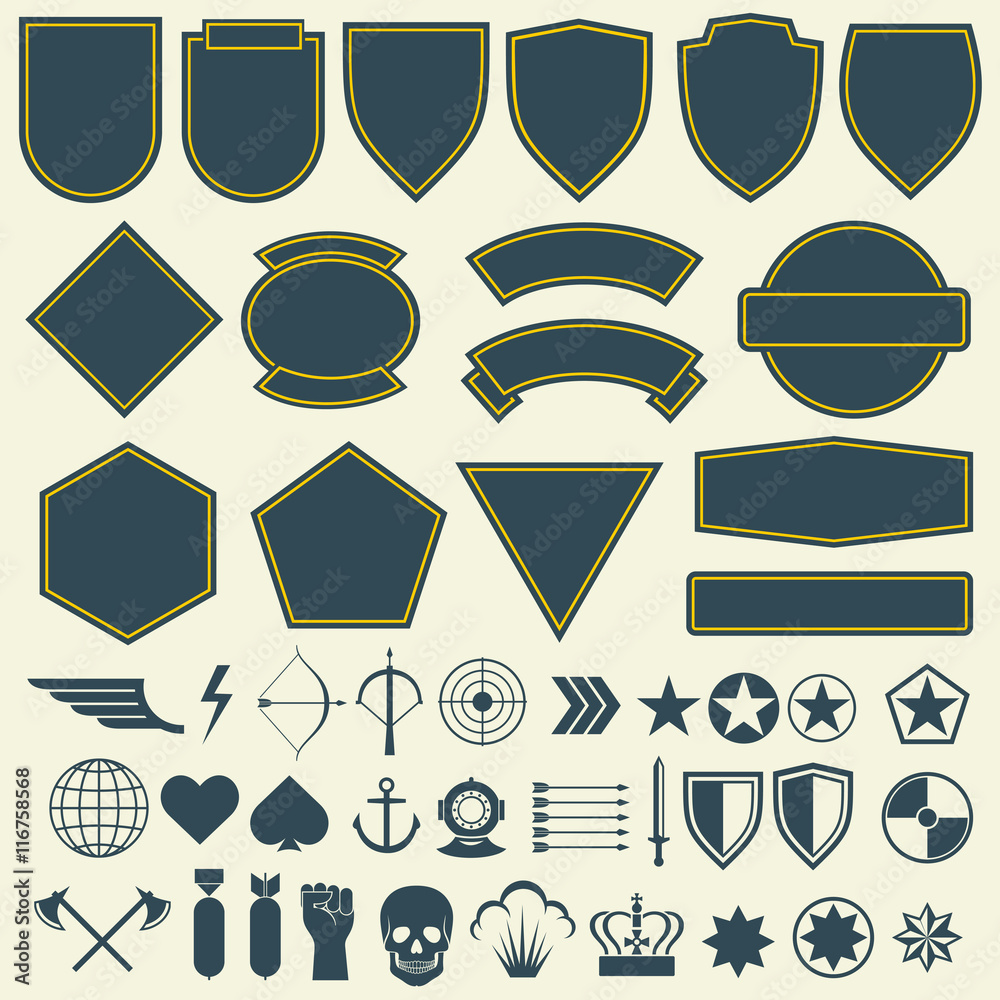 Fototapeta Vector elements for military, army patches, badges set