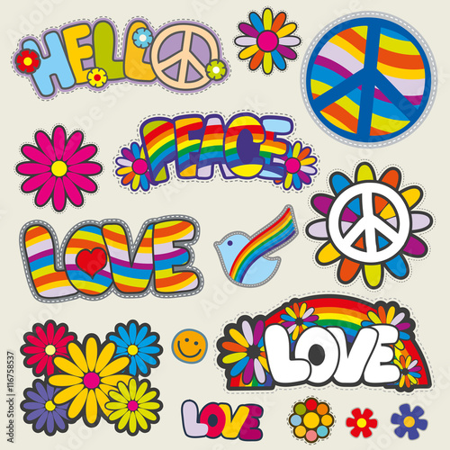 Retro hippie patches vector emblems Canvas Print