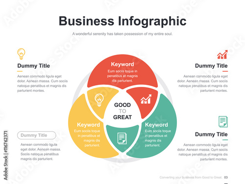 Fényképezés Flat business presentation vector slide template with diagram chart