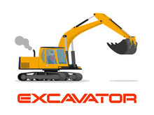 Vector Illustration With Flat Industrial Excavator.
