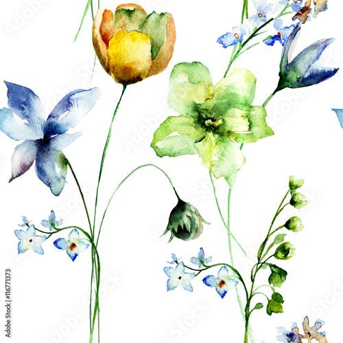 Fototapety, obrazy: Seamless pattern with stylized flowers
