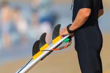 Surfboard Surfer Fins Closeup Unidentified