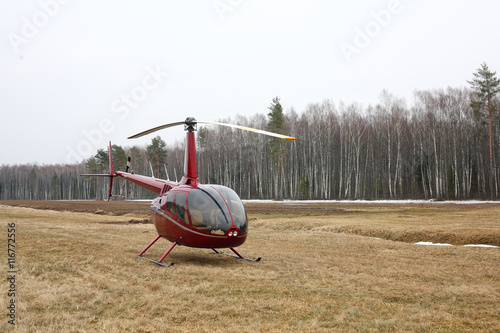 fototapeta na szkło Aircraft - Small red helicopter