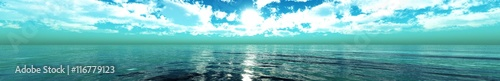 Poster de jardin Vert corail panorama of sea sunset. seascape.