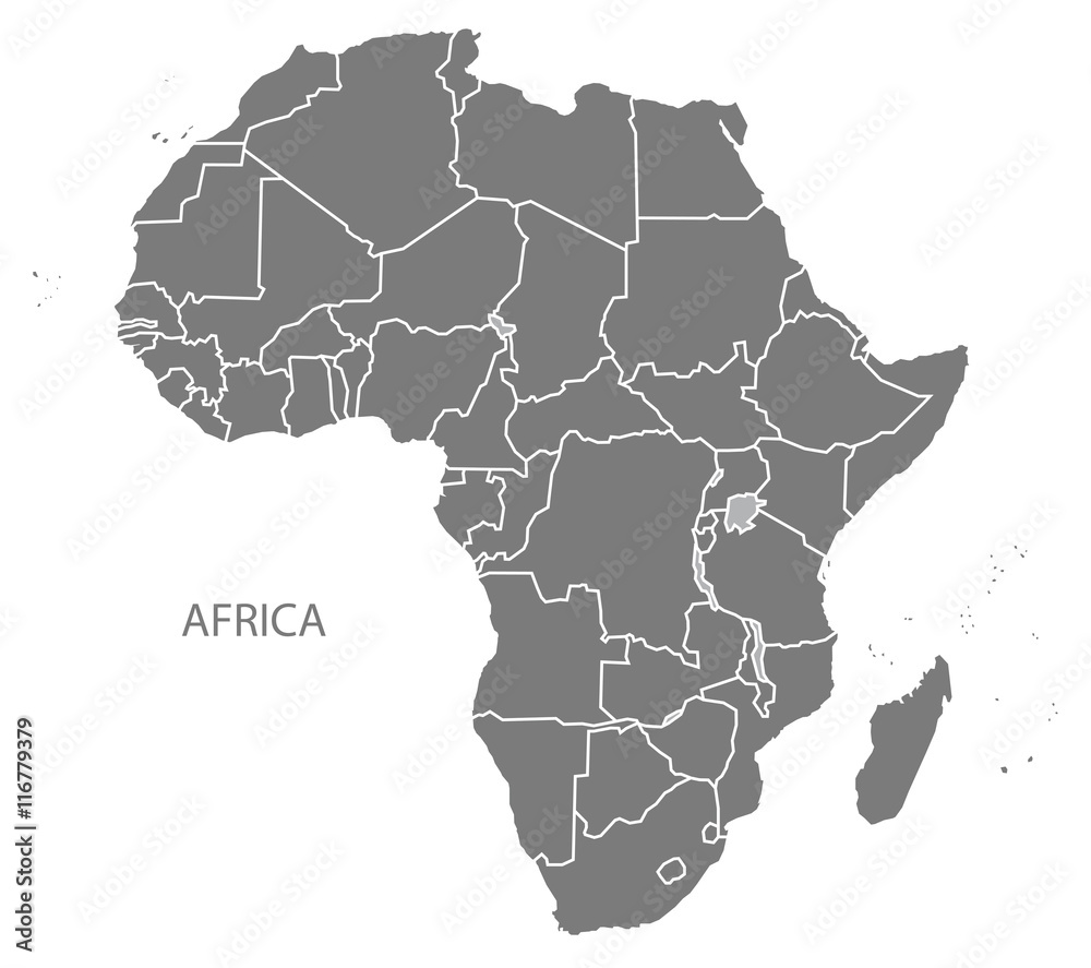 Fototapety, obrazy: Africa Map with countries grey
