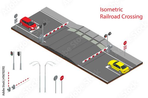 Fotografia, Obraz  Vector isometric illustration of  Railway crossing