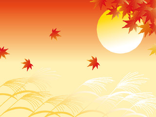 Fototapeta Sushi Autumn leaves and full moon