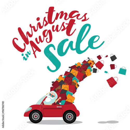 Christmas In August Poster.Christmas In August Sale Santa Claus Driving A Convertible