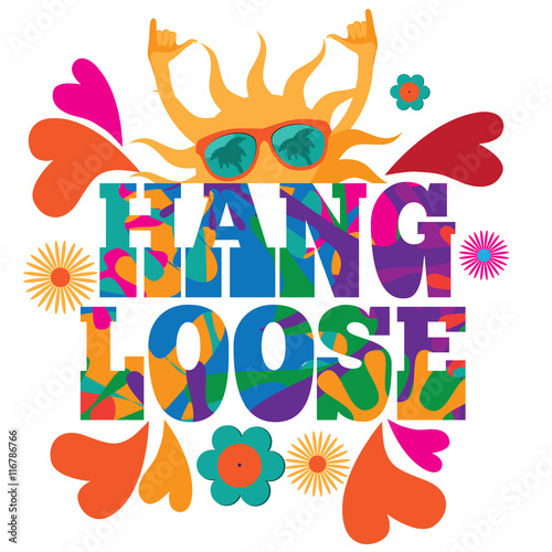 Hang Loose 1960s Mod Pop Art Psychedelic Sun Giving The Shaka Surf