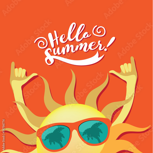 Hello Summer Sun Wearing Sunglasses Shaka Sign Hang Loose Poster