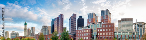 Boston skyline on a beautiful autumn sunset - MA, USA Wallpaper Mural