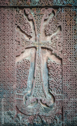 Foto op Canvas Monument Khachkar, also known as an Armenian cross-stone