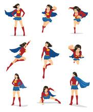 Set Of Female Superhero In 9 D...
