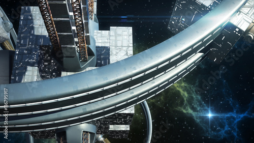 Photo Detailed 3D rendering of technologically advanced spaceship for war games, futur