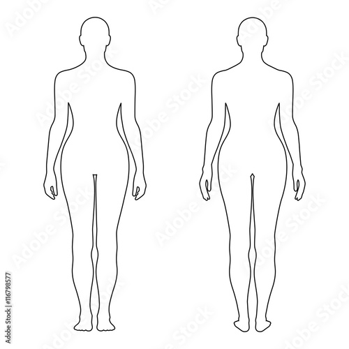Fashion woman's outlined template figure silhouette (front & bac Canvas Print