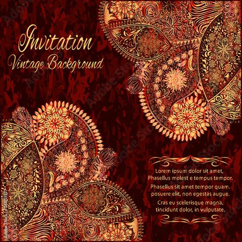 Vintage Floral Motif Background Ethnic Ornament Invitation