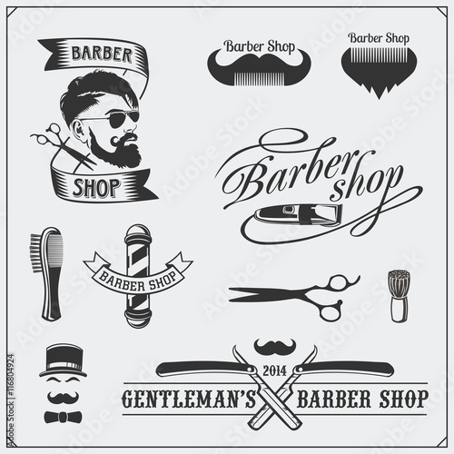 ŸSet of vintage Barber shop labels, badges, emblems and design elements Billede på lærred