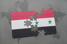 Puzzle With The National Flag Of Yemen And Osyria N A World Map Background.