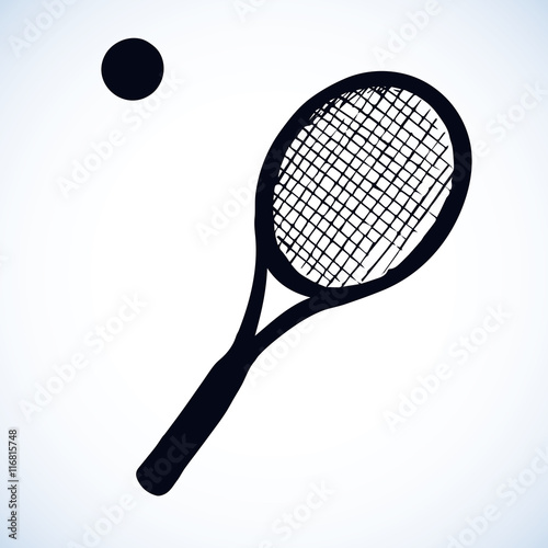 Tennis Racket And Ball Vector Drawing Buy This Stock Vector And
