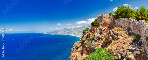 Fotografia Beautiful sea panorama landscape of Alanya Castle in Antalya district, Turkey, Asia
