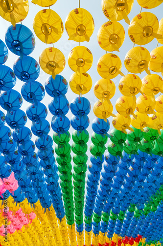Colorful paper lanterns viewed from below at the Bongeunsa Temple in Seoul, South Korea, celebrating Buddha's birthday Poster