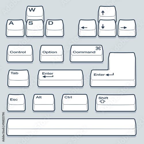Isometric Computer line Art Keyboard Keys Including Alt, Control, Shift, Enter and Arrow Keys Wall mural