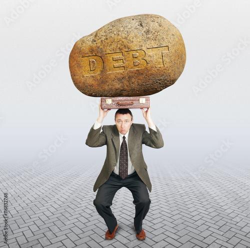 Canvas Print Debtor under the burden of debt. Difficulties in business concept
