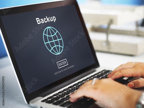 Fotomural  Backup Data Storage Restore Safety Security Concept