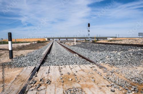 Fotografia, Obraz  Level crossing with no barrier in Toledo Province, Spain