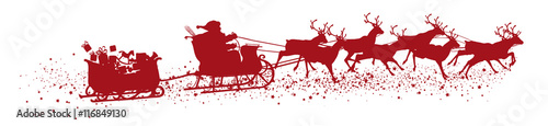 Obraz Santa Claus with Reindeer Sleigh and Trailer - Red Vector Silhouette - fototapety do salonu