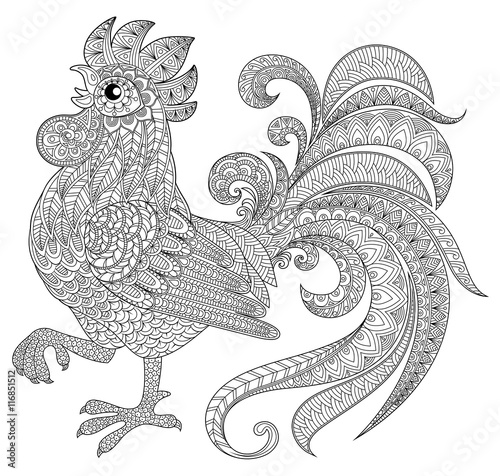 Coloring Pages For Adults Rooster : Rooster in zentangle style symbol of chinese new year