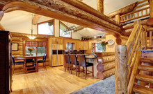 Log Cabin House Interior Of Di...