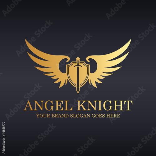 Angel knight. Knight logo. Sword and shield illustration.