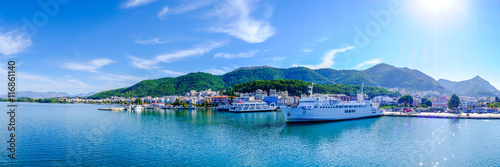 Photo Stands Cyprus Greece ferryboat harbour panoramic shot. Artistic HDR image.