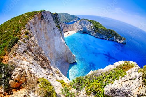 Платно Zakynthos shipwreck beach. Navagio Bay panorama with no boats an