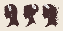 Wedding Design Silhouettes Of Brides With Roses Vector