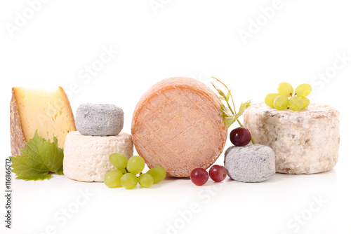 Poster Produit laitier assorted cheese,dairy product isolated on white