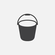 Bucket Icon Vector, Solid Logo Illustration, Pictogram Isolated On White