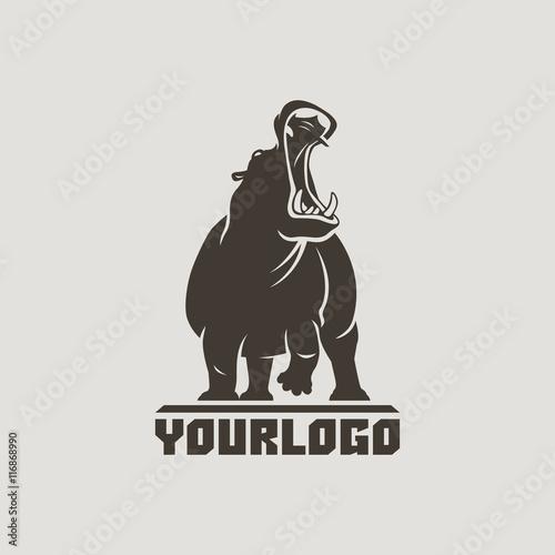 Valokuvatapetti hippo logo isolated