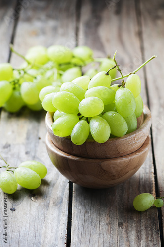 White grape on the wooden table Canvas Print