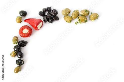 Photo Stands Appetizer Oliven-Peperoni-Rahmen