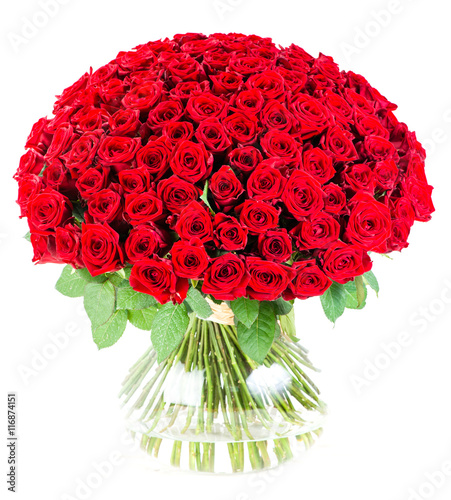Photo  huge bouquet of red roses in a vase