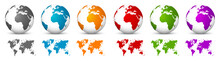 White 3D Vector Globes With Wo...