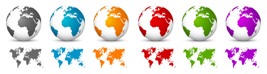 Fototapeta White 3D Vector Globes with World Maps in Same Color. Planet Earth Collection with Colorful Continents
