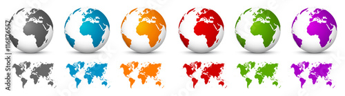 White 3D Vector Globes with World Maps in Same Color. Planet Earth Collection with Colorful Continents