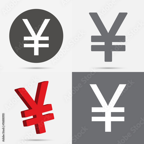 Set Of Japanese Yen And Chinese Yuan Currency Symbol Buy This